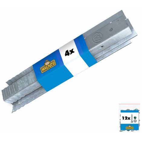 WICKEY Anclaje en angulo / fijacion para postes (Set de 4 unidades)