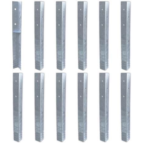 WICKEY Ancrage au sol ancrage poteau SolidLock - set de 12 ancrages pour aire de jeux & portique balançoire, ancrages en profilé pour cabane enfant & palissade