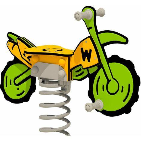 """WICKEY Balancín muelle PRO bicicrós """"Crossey"""" - Certificado según EN 1176 - Para parques infantiles públicos y campings"""