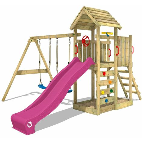 WICKEY Climbing frame MultiFlyer wooden roof with swing set and purple slide, Garden playhouse with sandpit, climbing ladder & play-accessories