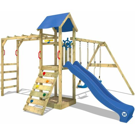 Climbing frame WICKEY Smart Bridge with swing, slide and sandpit, blue