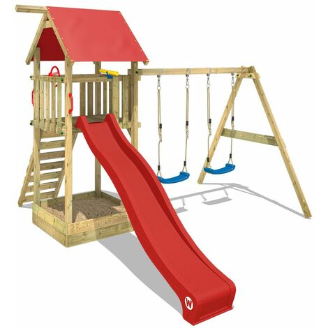 WICKEY Climbing frame Smart Empire with double swing, slide, sandpit