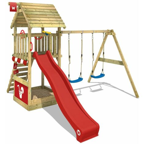 WICKEY Climbing frame Smart Shelter HD with swing set and red slide, Garden playhouse with sandpit, climbing ladder & play-accessories
