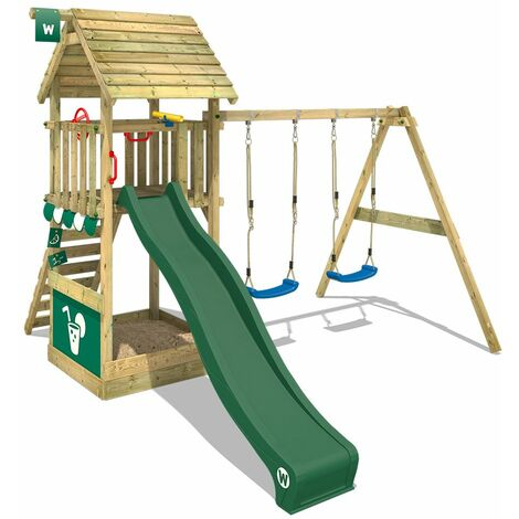 WICKEY Climbing frame Smart Shelter wooden roof with swing set and green slide, Garden playhouse with sandpit, climbing ladder & play-accessories