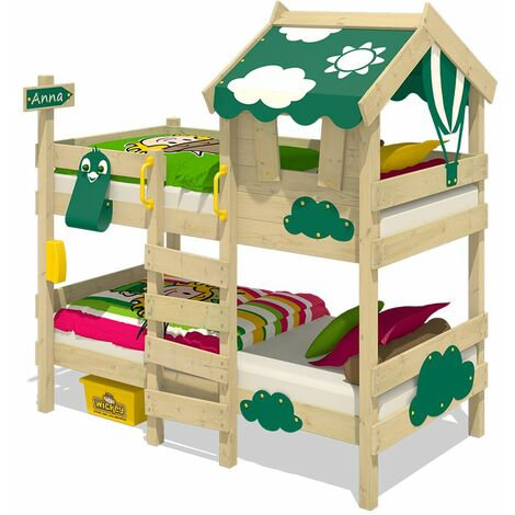 WICKEY Kid�s bed, bunk bed Crazy Daisy - green canvas cover loft bed 90 x 200 cm