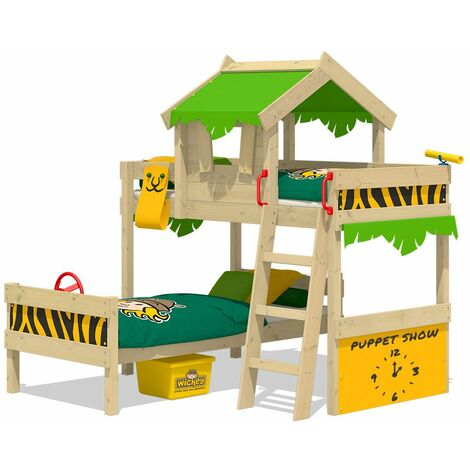 WICKEY Kid�s bed, bunk bed Crazy Jungle - apple green/yellow canvas cover loft bed 90 x 200 cm