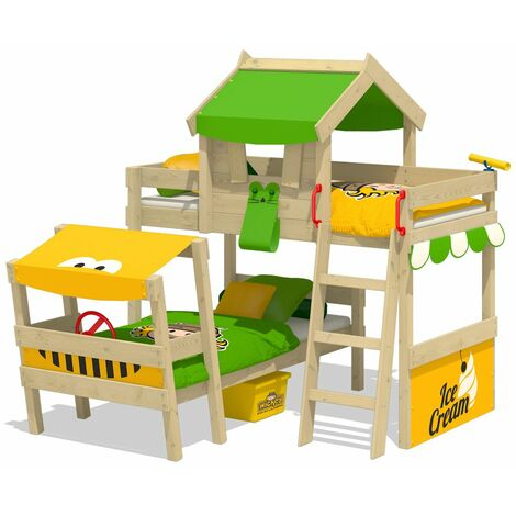 WICKEY Kid�s bed, bunk bed Crazy Trunky - apple green/yellow canvas cover loft bed 90 x 200 cm