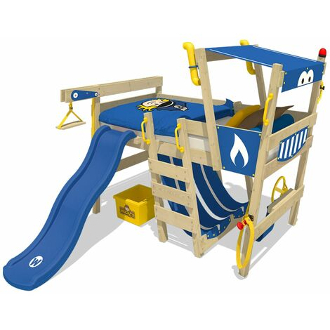 WICKEY Kid´s bed, loft bed CrAzY Castle with blue slide single bed 90 x 200 cm, children