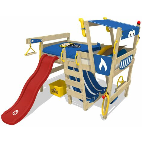 WICKEY Kid�s bed, loft bed Crazy Castle with red slide single bed 90 x 200 cm, children�s bed