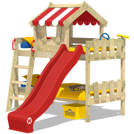 WICKEY Kid�s bed, loft bed Crazy Circus with red slide single bed 90 x 200 cm, children�s bed