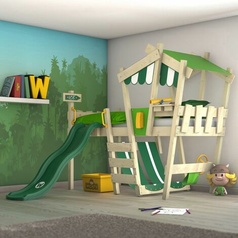 WICKEY Kid�s bed, loft bed Crazy Hutty with green slide single bed 90 x 200 cm, children�s bed