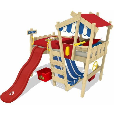 WICKEY Kid�s bed, loft bed Crazy Hutty with red slide single bed 90 x 200 cm, children�s bed