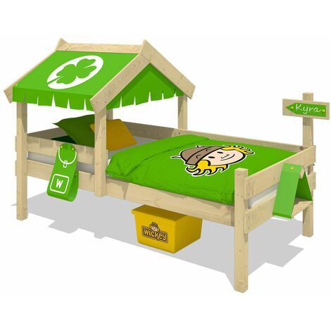 WICKEY Kid�s bed, single bed Crazy Buddy - apple green canvas cover children�s bed 90 x 200 cm