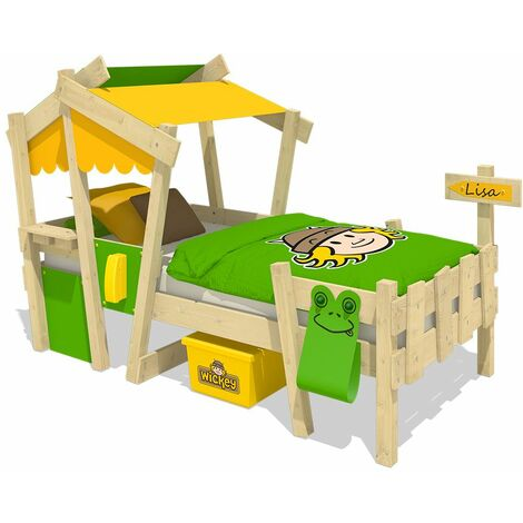 WICKEY Kid�s bed, single bed Crazy Candy - yellow/apple green canvas cover children�s bed 90 x 200 cm