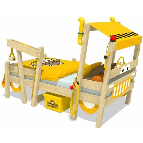 """main image of """"WICKEY Kid´s bed, single bed Crazy Sparky Max - yellow canvas cover children´s bed 90 x 200 cm"""""""