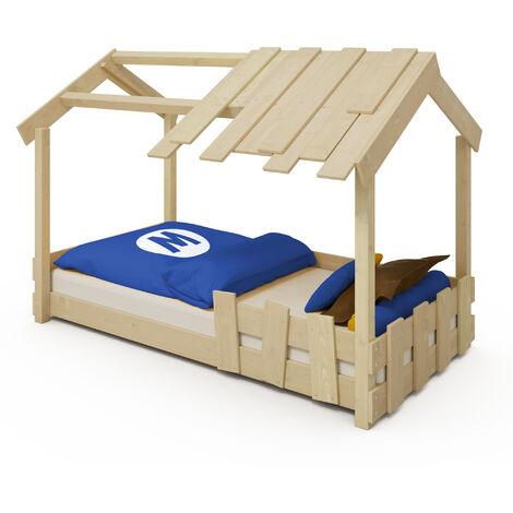 WICKEY Lit enfant, Lit maison CrAzY Beach bâche Lit en bois 90 x 200 cm