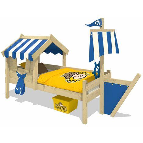 WICKEY Lit enfant, Lit maison Crazy Finny bâche bleu Lit en bois 90 x 200 cm