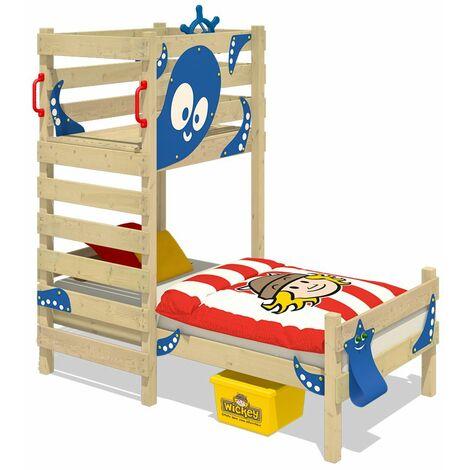WICKEY Lit enfant, Lit maison Crazy Octopus bâche bleu Lit en bois 90 x 200 cm