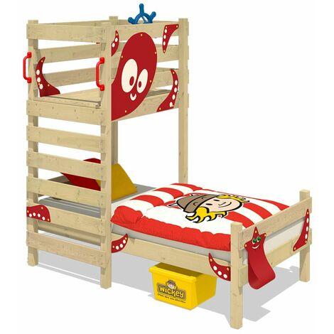 WICKEY Lit enfant, Lit maison Crazy Octopus bâche rouge Lit en bois 90 x 200 cm