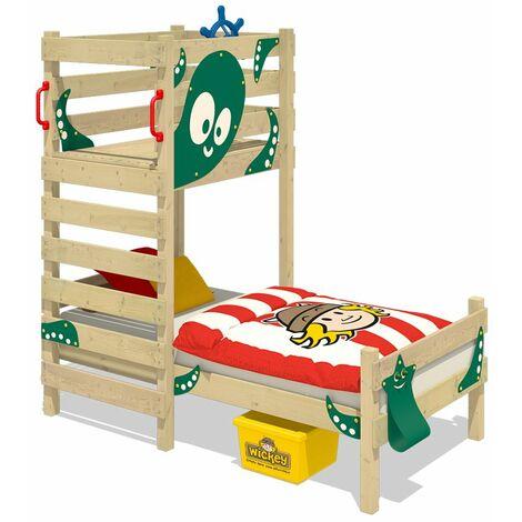WICKEY Lit enfant, Lit maison Crazy Octopus bâche vert Lit en bois 90 x 200 cm