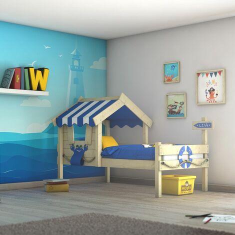 WICKEY Lit enfant, Lit maison Crazy Sharky bâche bleu Lit en bois 90 x 200 cm