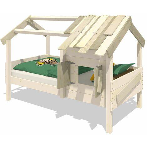 WICKEY Lit enfant, Lit maison CrAzY Sunrise bâche Lit en bois 90 x 200 cm