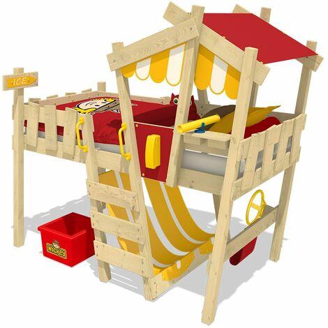 WICKEY Lit enfant, Lit mezzanine Crazy Hutty jaune/rouge Lit maison, Lit en bois 90x 200 cm