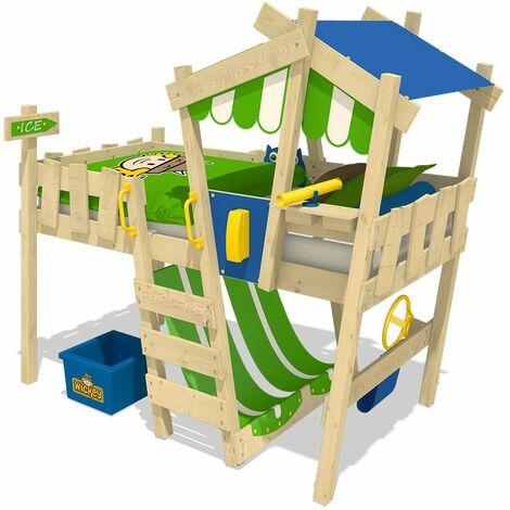 WICKEY Lit enfant, Lit mezzanine Crazy Hutty vert pomme/bleu Lit maison, Lit en bois 90x 200 cm