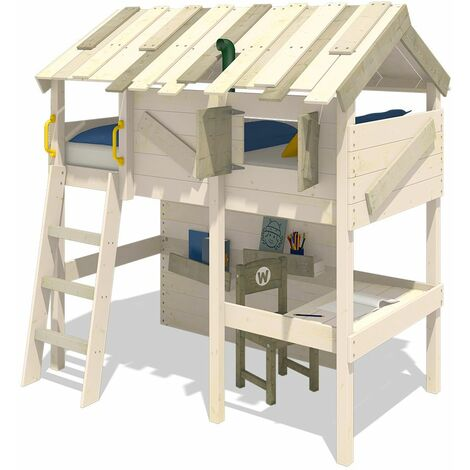 WICKEY Lit enfant, Lit mezzanine CrAzY Island Lit maison, Lit en bois 90x 200 cm