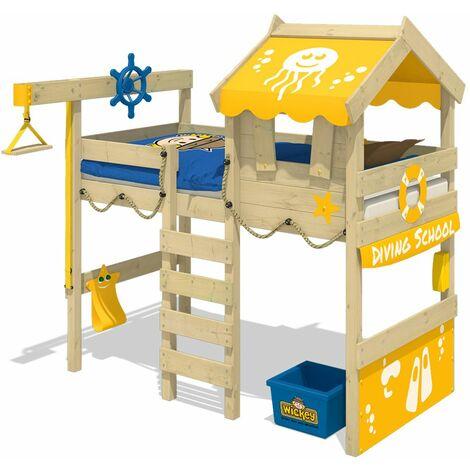 WICKEY Lit enfant, Lit mezzanine Crazy Jelly jaune Lit maison, Lit en bois 90x 200 cm