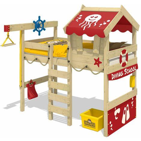 WICKEY Lit enfant, Lit mezzanine Crazy Jelly rouge Lit maison, Lit en bois 90x 200 cm
