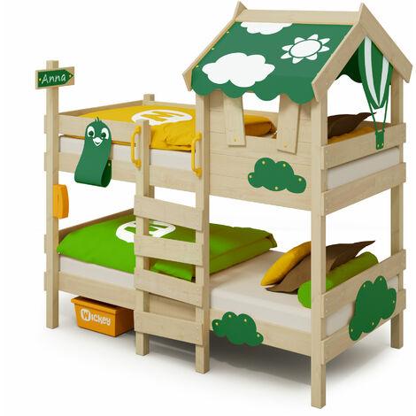 WICKEY Lit enfant, Lit superposé Crazy Daisy avec toboggan vert Lit en bois 90 x 200 cm