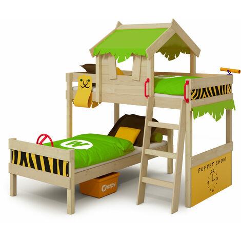 WICKEY Lit enfant, Lit superposé Crazy Jungle avec toboggan vert pomme/jaune Lit en bois 90 x 200 cm
