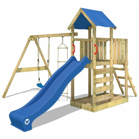 WICKEY Parque infantil de madera FastFlyer con columpio y tobogán azul, Torre de escalada de exterior con arenero y escalera para niños