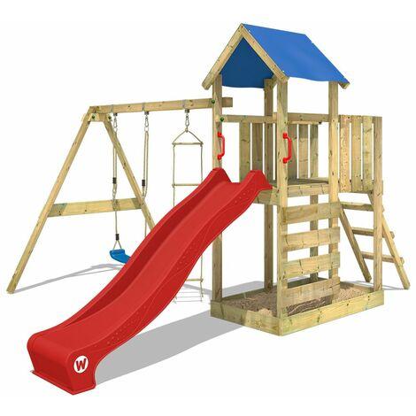 WICKEY Parque infantil de madera FastFlyer con columpio y tobogán rojo, Torre de escalada de exterior con arenero y escalera para niños
