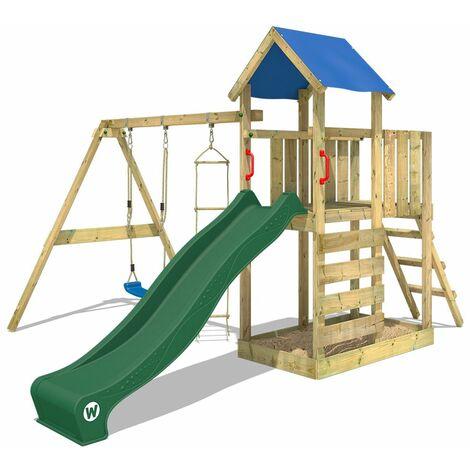 WICKEY Parque infantil de madera FastFlyer con columpio y tobogán verde, Torre de escalada de exterior con arenero y escalera para niños