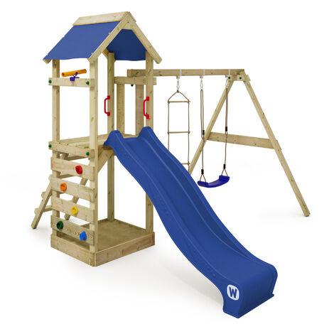 WICKEY Parque infantil de madera FreeFlyer con columpio y tobogán azul, Torre de escalada de exterior con arenero y escalera para niños