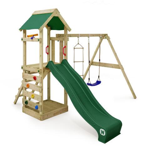 WICKEY Parque infantil de madera FreeFlyer con columpio y tobogán verde, Torre de escalada de exterior con arenero y escalera para niños