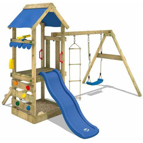 WICKEY Parque infantil de madera FreshFlyer con columpio y tobogán azul Torre de escalada de exterior con arenero y escalera para niños