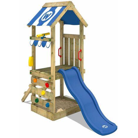 WICKEY Parque infantil de madera FunkyFlyer con tobogán azul Torre de escalada de exterior con arenero y escalera para niños