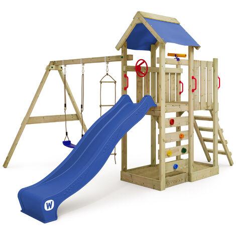 WICKEY Parque infantil de madera MultiFlyer con columpio y tobogán azul, Torre de escalada de exterior con arenero y escalera para niños