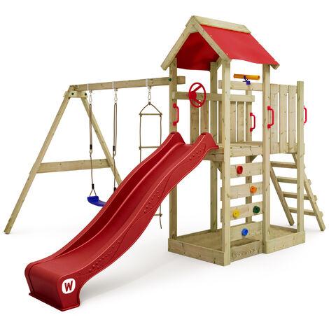 WICKEY Parque infantil de madera MultiFlyer con columpio y tobogán rojo, Torre de escalada de exterior con arenero y escalera para niños