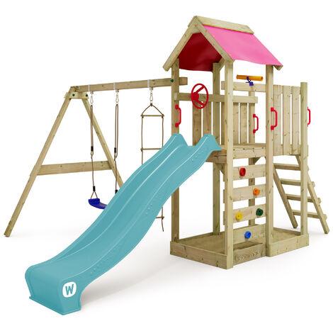WICKEY Parque infantil de madera Multiflyer con columpio y tobogán, Torre de escalada da exterior con arenero y escalera para niños
