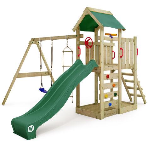 WICKEY Parque infantil de madera MultiFlyer con columpio y tobogán verde, Torre de escalada de exterior con arenero y escalera para niños