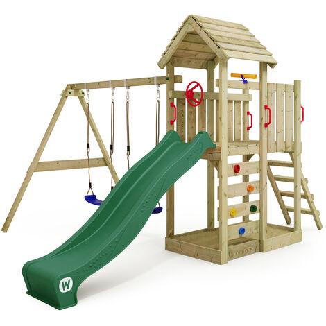 WICKEY Parque infantil de madera MultiFlyer HD con columpio y tobogán verde, Torre de escalada de exterior con techo, arenero y escalera para niños