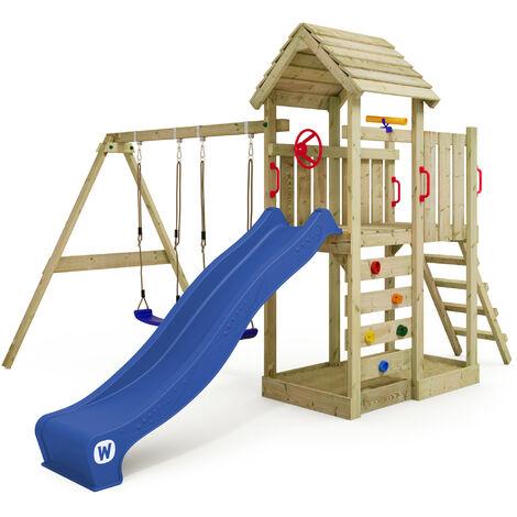 WICKEY Parque infantil de madera MultiFlyer Techo de madera con columpio y tobogán azul Torre de escalada de exterior con techo, arenero y escalera para niños