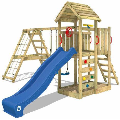 WICKEY Parque infantil de madera RocketFlyer con columpio y tobogán azul Torre de escalada de exterior con arenero y escalera para niños
