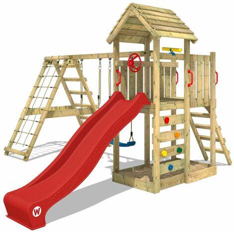 WICKEY Parque infantil de madera RocketFlyer con columpio y tobogán rojo Torre de escalada de exterior con arenero y escalera para niños
