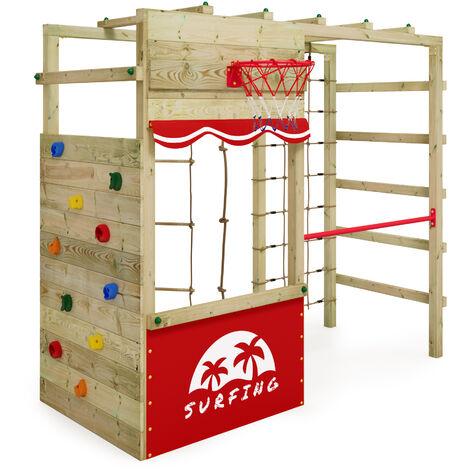 WICKEY Parque infantil de madera Smart Action Área de juegos da exterior, Escalera Sueco con pared de escalada para niños