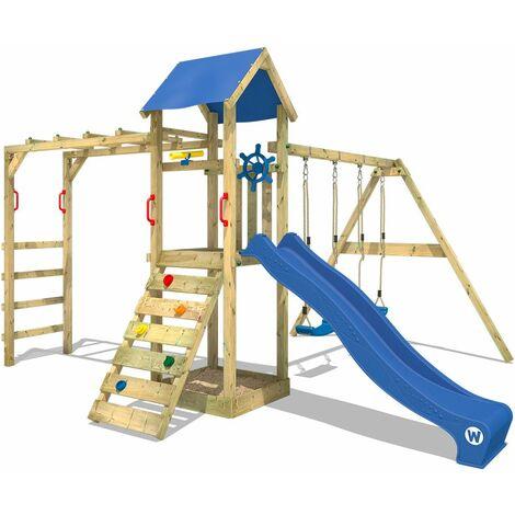WICKEY Parque infantil de madera Smart Bridge con columpio y tobogán azul, Torre de escalada de exterior con arenero y escalera para niños